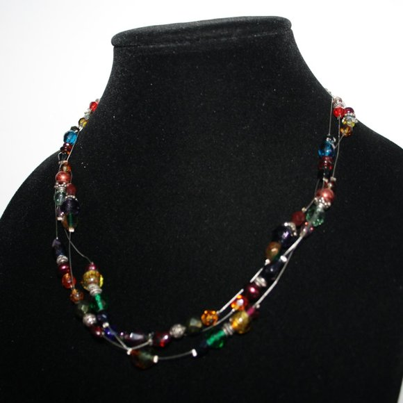 Beautiful silver and rainbow layered necklace
